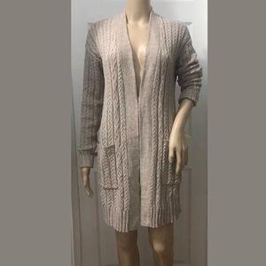J.Jill Cable Oatmeal Long Cardigan Cotton/Wool XS